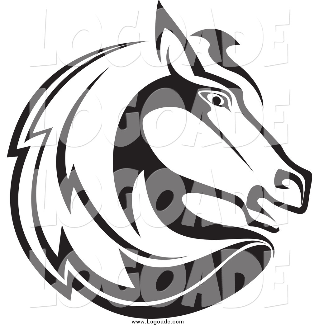 Clipart Of A Black And White Horse Head Profile Logo By Vector Tradition Sm 3113