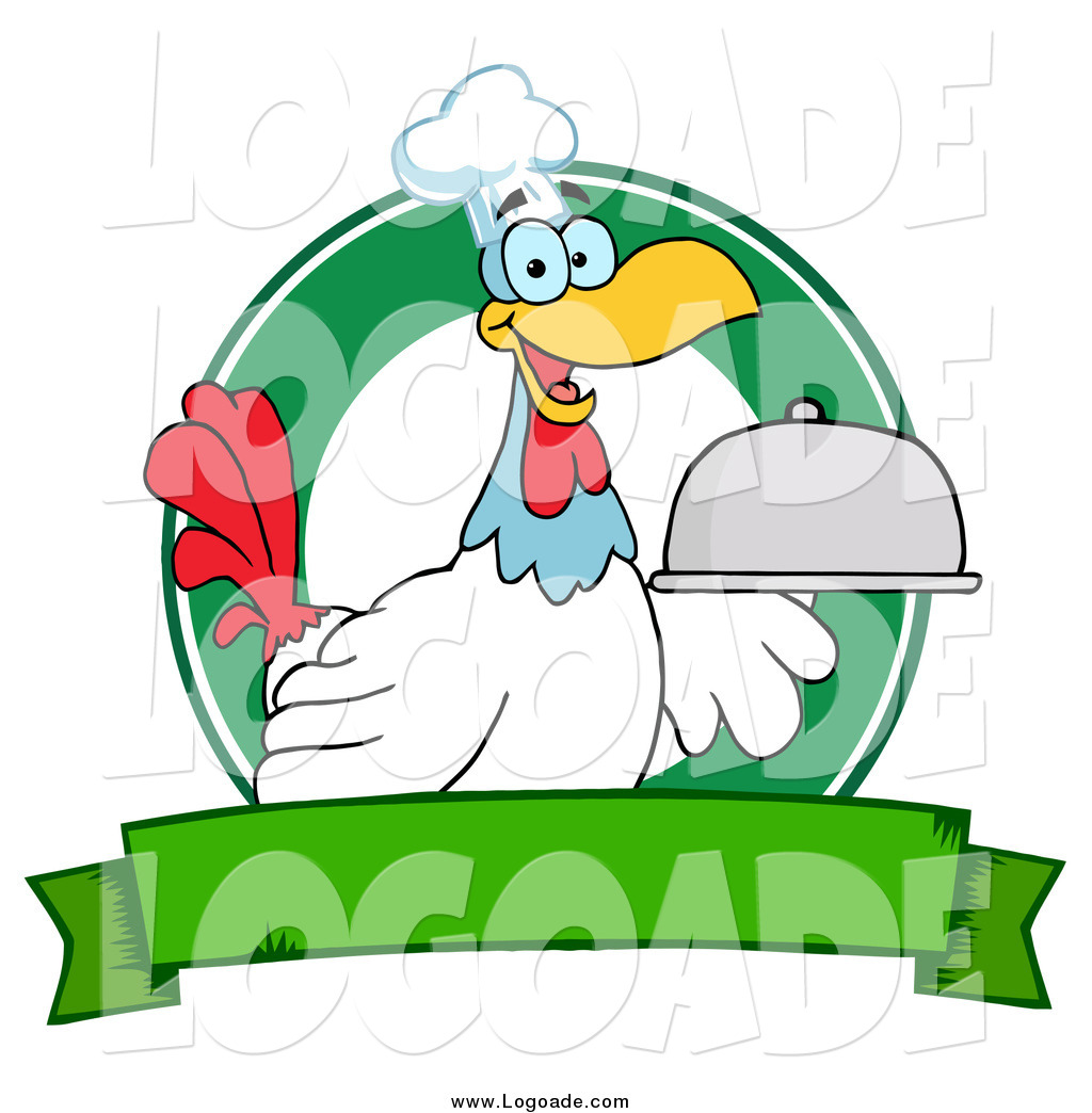 Rooster Chef Serving A Platter Over Circle And Blank Green Banner Logo