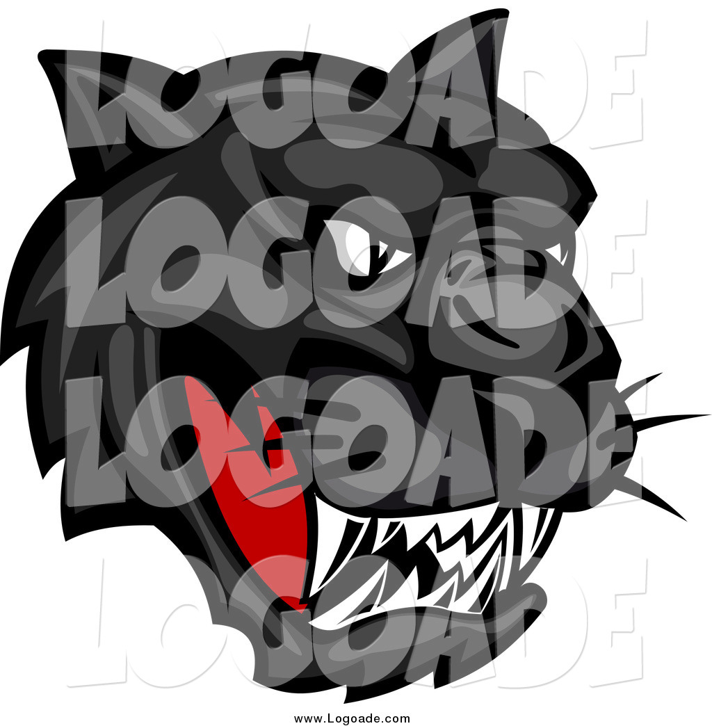 clipart of an aggressive black panther head logo by vector tradition rh logoade com School Panther Logo Panthers Football Logo