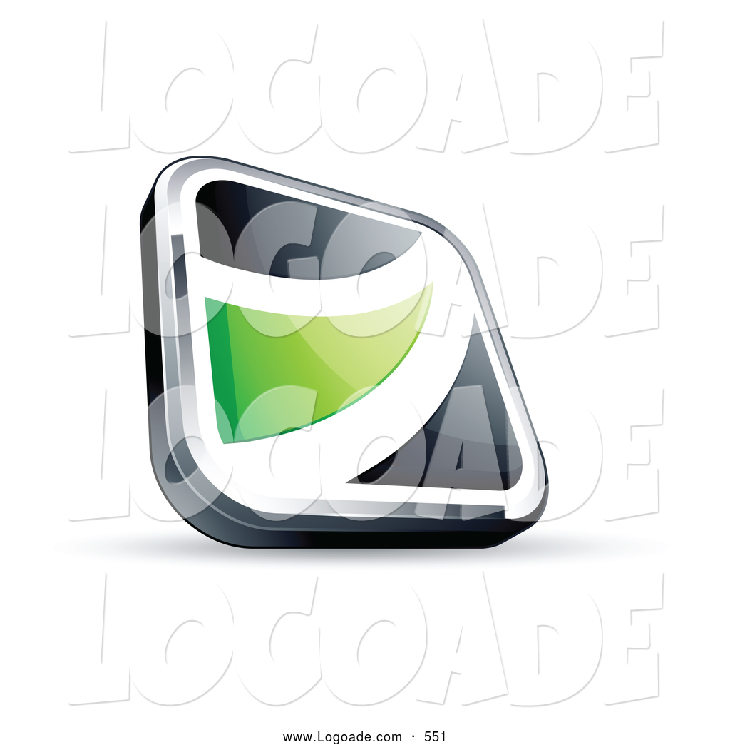 Logo of a 3d Black Square Button with a Green Wave