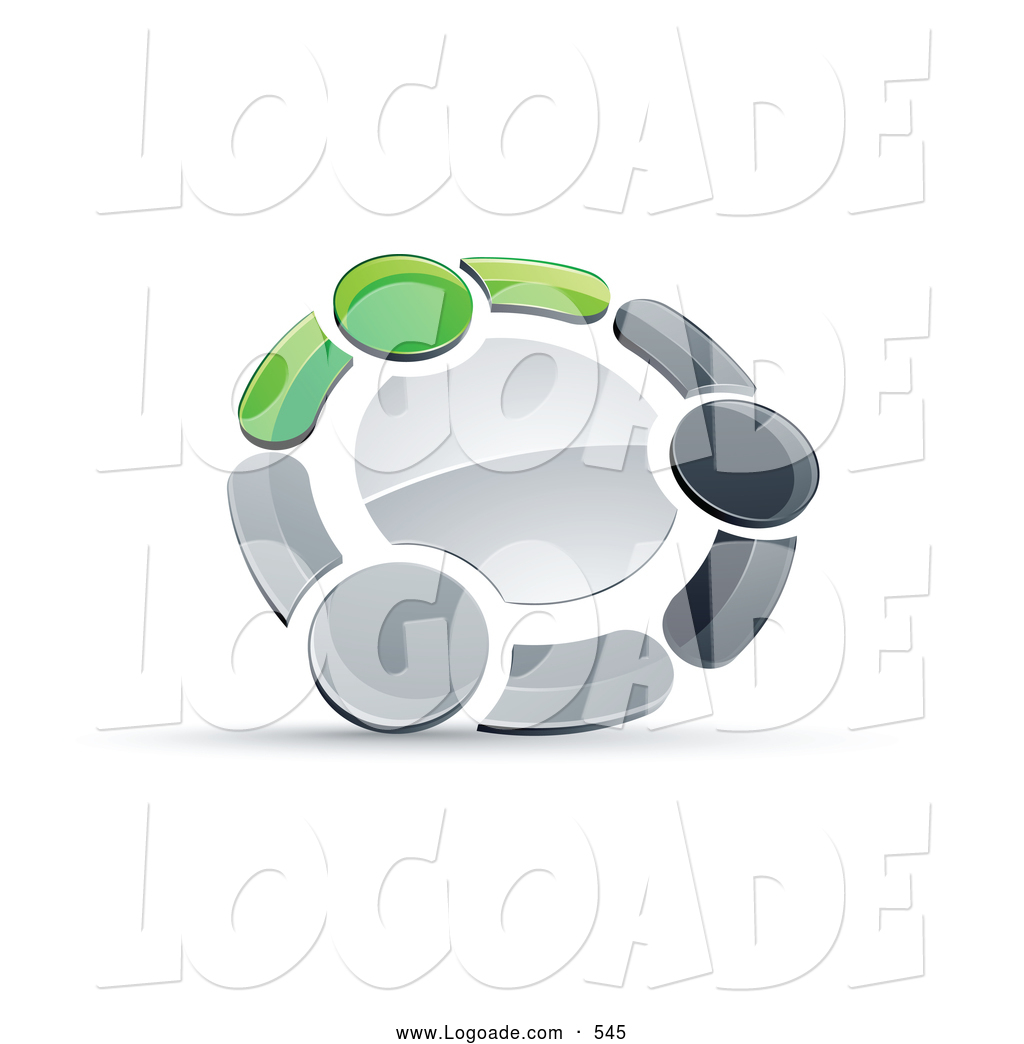 Larger Preview: Logo of a 3d Circle of Three Green, Gray ...