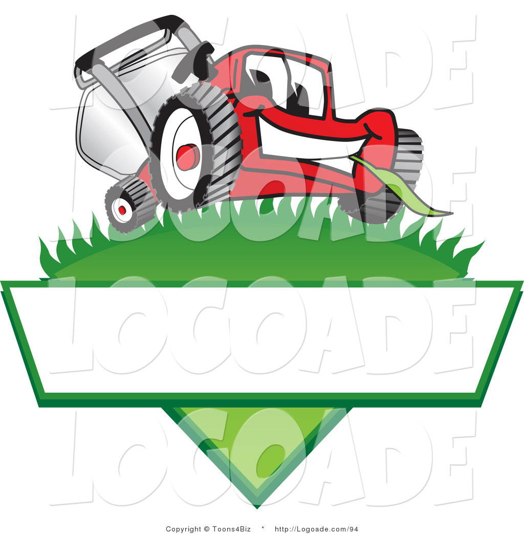 logo of a cute red lawn mower mascot cartoon character on a grassy rh logoade com lawn mower logo clip art lawn mower logo clip art