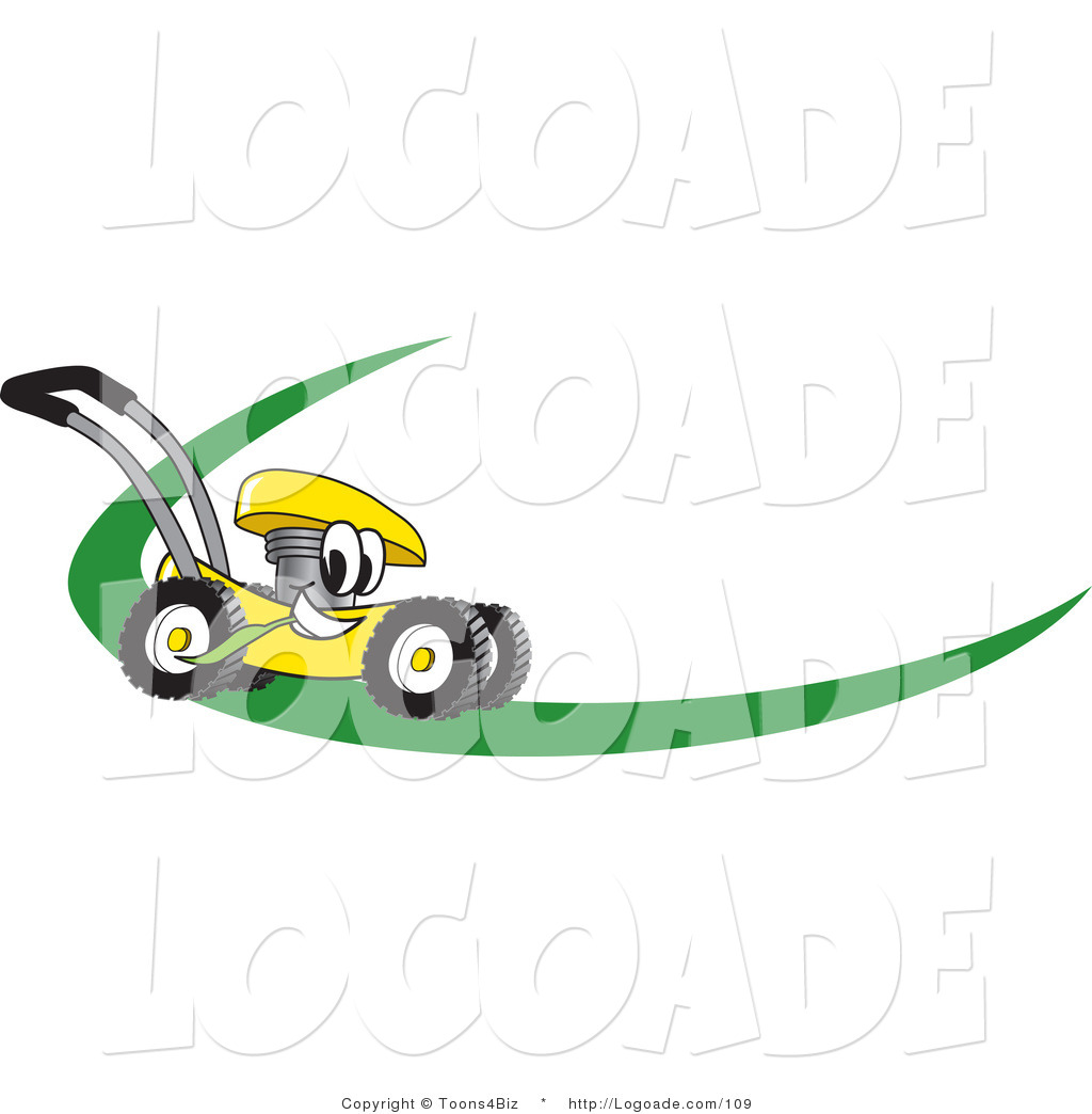 lawn mower logo. logo of a helpful yellow lawn mower mascot cartoon character on or nametag with