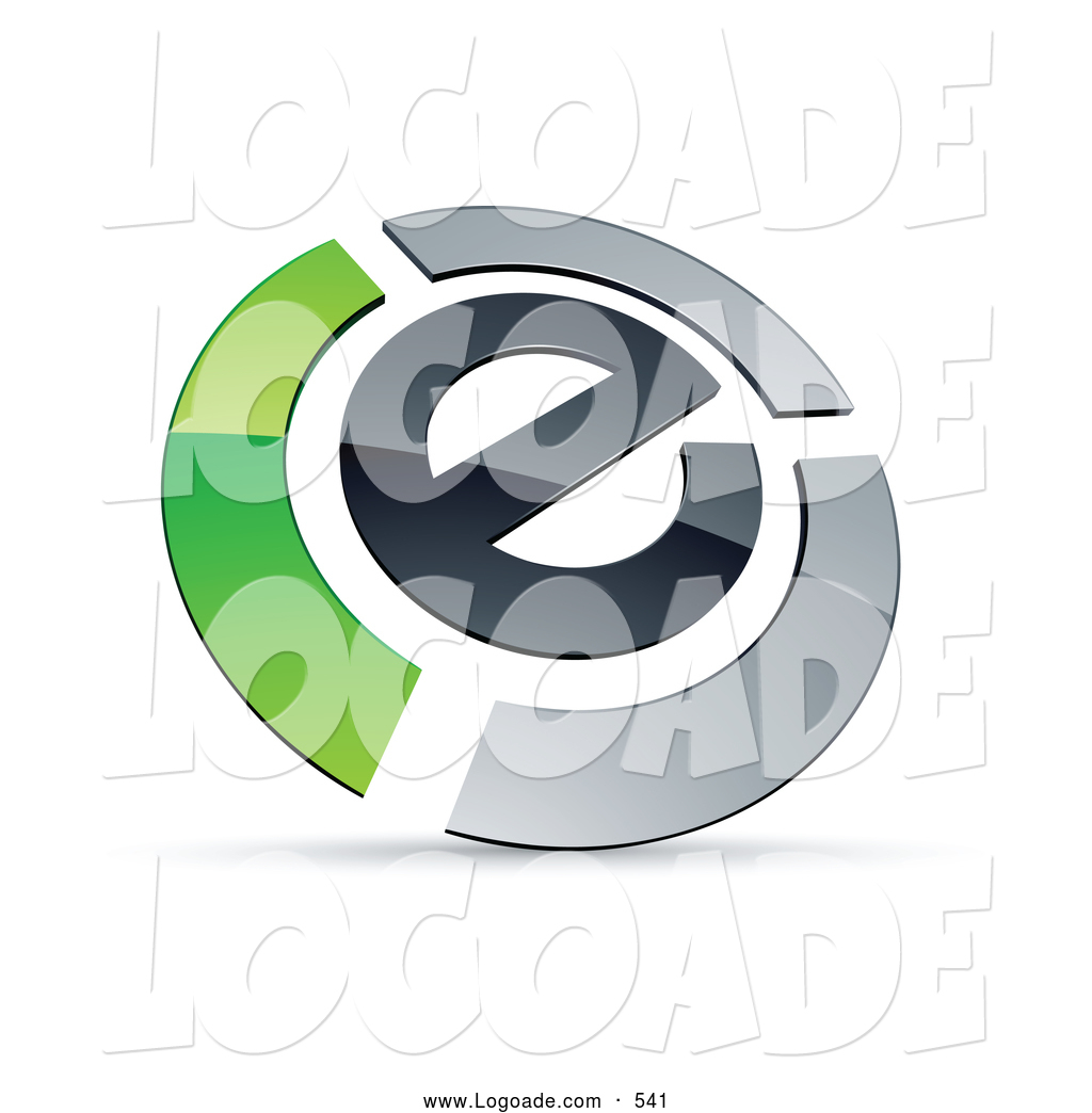 ... Preview: Logo of a Letter E Circled by Chrome and Green Bars by Beboy