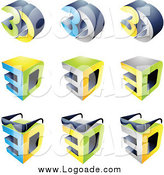 Clipart of 3d Cubes and Glasses Entertainment Logos by Cidepix