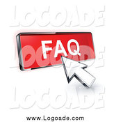 August 13th, 2014: Clipart of a 3d Arrow Cursor Clicking on a FAQ Button by Beboy