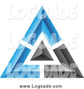 Clipart of a 3d Blue and Black Pyramid Logo by Cidepix