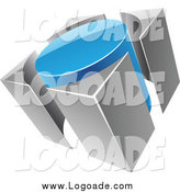 Clipart of a 3d Blue and Gray Circle and Guards Logo by Cidepix