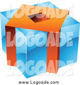 Clipart of a 3d Blue and Orange Cubic Logo by Cidepix