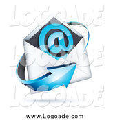 Clipart of a 3d Blue Arrow Around an Envelope and at Symbol by Beboy