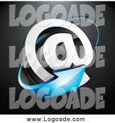 Clipart of a 3d Blue Arrow Circling an Email Arobase at Symbol, on a Black Lined Background by Beboy
