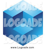 Clipart of a 3d Blue Cube Logo by Cidepix