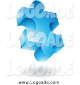 Clipart of a 3d Blue Puzzle Piece Logo by Cidepix
