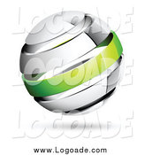 Clipart of a 3d Chrome and Green Band Globe Logo by Beboy