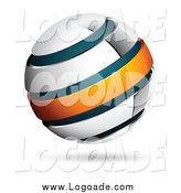 Clipart of a 3d Chrome, Blue and Orange Globe Logo by Beboy