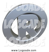 Clipart of a 3d Chrome Registered Trademark Icon with an R in the Center by Frank Boston