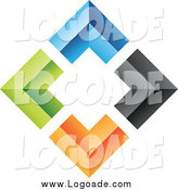 Clipart of a 3d Diamond of Colorful Corners Logo by Cidepix