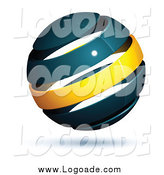 Clipart of a 3d Floating Navy Blue and Yellow Globe Logo by Beboy
