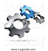 Clipart of a 3d Floating Silver and Blue Gears Logo by Beboy