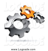 Clipart of a 3d Floating Silver and Orange Gears Teamwork Logo by Beboy