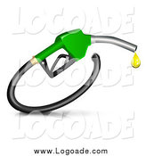 Clipart of a 3d Green Fuel Nozzle with a Droplet by Oligo