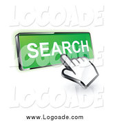 Clipart of a 3d Hand Cursor Clicking on a Green Search Icon Logo by Beboy