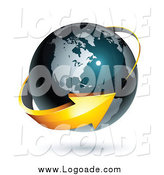 Clipart of a 3d Orange Arrow Circling a Blue American Globe by Beboy