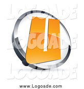 Clipart of a 3d Orange Letter U in a Circle by Beboy