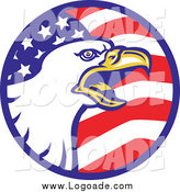 August 18th, 2014: Clipart of a Bald Eagle in an American Flag Circle Logo by Patrimonio