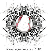 Clipart of a Baseball and Tribal Logo by Chromaco