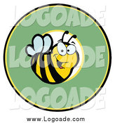 Clipart of a Bee over a Green Circle Logo by Hit Toon