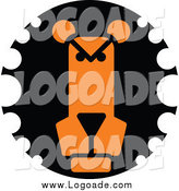 Clipart of a Black and Orange Lion Face Logo by Vector Tradition SM