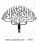 Clipart of a Black and White Bare Tree by AtStockIllustration