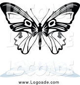 Clipart of a Black and White Butterfly Flying and Shadow Logo by Dero