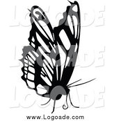 Clipart of a Black and White Butterfly Logo by Dero