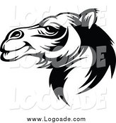 Clipart of a Black and White Camel Logo by Vector Tradition SM