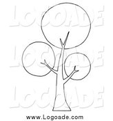 Clipart of a Black and White Circle Foliage Tree Logo by Hit Toon