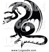 Clipart of a Black and White Dragon Logo by Vector Tradition SM
