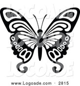 September 20th, 2015: Clipart of a Black and White Flying Butterfly Logo by Dero