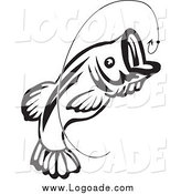 Clipart of a Black and White Jumping Fish and Hook Logo by Vector Tradition SM