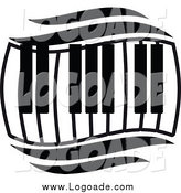 Clipart of a Black and White Keyboard Wave Logo by Vector Tradition SM