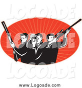 Clipart of a Black and White Male Photographer and Hunters over Red Logo by Patrimonio