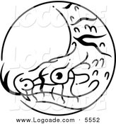 Clipart of a Black and White Snake Chinese Zodiac Circle by BNP Design Studio