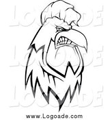 Clipart of a Black and White Tough Rooster Logo by Vector Tradition SM