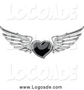 Clipart of a Black and White Winged Flying Heart by Vector Tradition SM