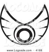 Clipart of a Black and White Wings Logo by Vector Tradition SM