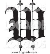 Clipart of a Black Old English Abc Letter W by BestVector