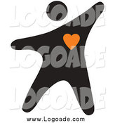 Clipart of a Black Person with an Orange Heart Logo by Vector Tradition SM