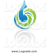 Clipart of a Blue and Green Organic Water Drop Logo by Elena