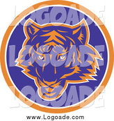 Clipart of a Blue and Orange Round Tiger Logo by Patrimonio